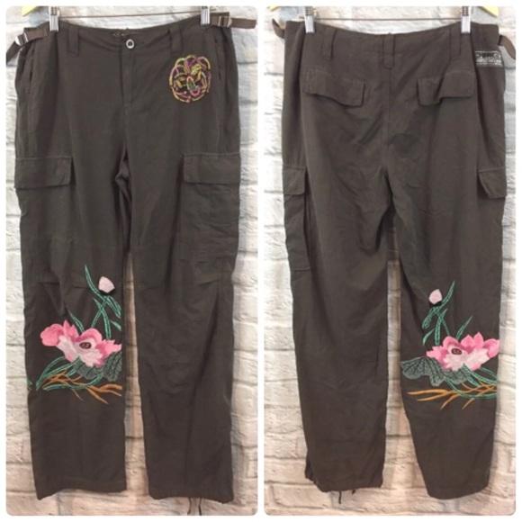 21a98413e19a Da-Nang Pants - Da-Nang Embroidered Floral Silk Blend Cargo Pants